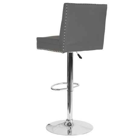 Ravello Contemporary Adjustable Height Barstool with Accent Nail Trim in Black Fabric - image 4 of 4