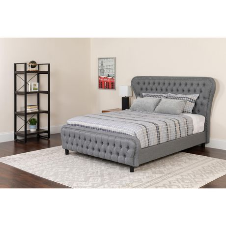 Cartelana Tufted Upholstered King Size Platform Bed with Silver Accent Nail Trim in Light Gray Fabric - image 3 of 3