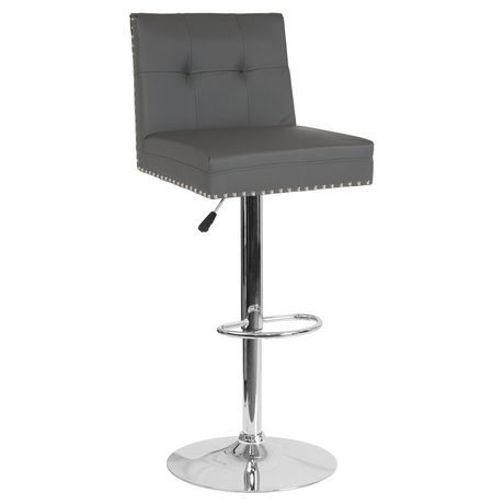 Ravello Contemporary Adjustable Height Barstool with Accent Nail Trim in Black Fabric - image 1 of 4
