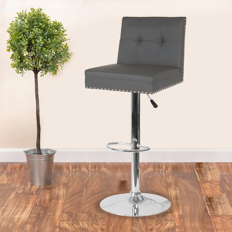 Ravello Contemporary Adjustable Height Barstool with Accent Nail Trim in Black Fabric - image 2 of 4
