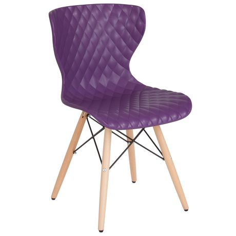 Bedford Contemporary Design Black Plastic Chair with Wooden Legs - image 1 of 4