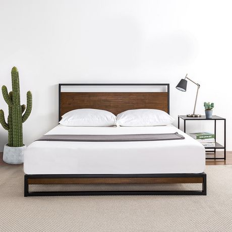 quality design a362f 59d34 Zinus Ironline Metal and Wood Platform Bed with Headboard / Box Spring Not  Required / Easy Assembly