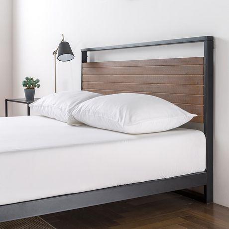 Zinus Ironline Metal And Wood Platform Bed With Headboard