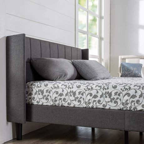 Zinus Upholstered Square Stitched Wingback Platform Bed