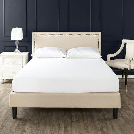 Zinus Deluxe Upholstered Nailhead Trim Platform Bed