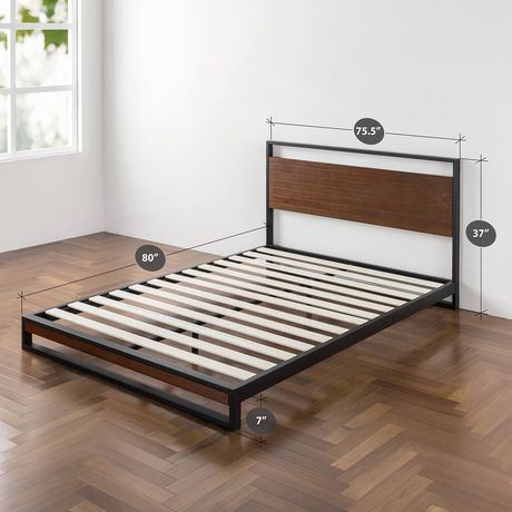 Zinus Ironline Metal And Wood Platform Bed With Headboard
