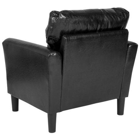 Fauteuil Bari rembourré en cuir noir - image 3 de 4