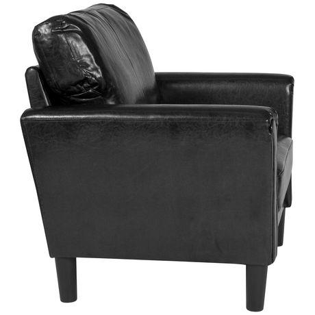 Fauteuil Bari rembourré en cuir noir - image 4 de 4