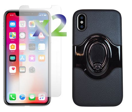 Exian iPhone X Screen Protectors x 2 and Armored Case with Metal Finger Holder/Stand, Built-In Magnetic Metal Compatible with Magnet Car Holder Black - image 1 of 3