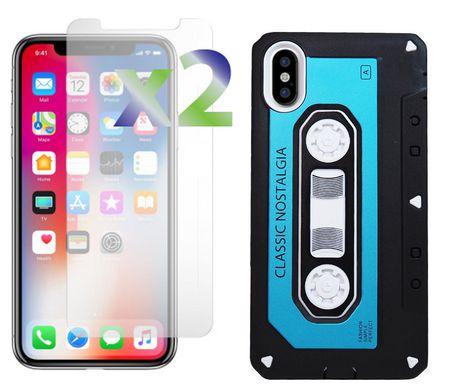 online store 9b668 da985 Exian iPhone X Screen Protectors x 2 and Armored Case Classic Cassette Tape  Design Blue/Black