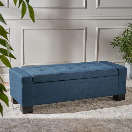 Excellent Gila Dark Blue Fabric Storage Ottoman Walmart Canada Short Links Chair Design For Home Short Linksinfo