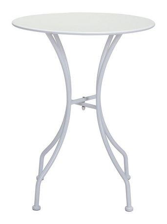 table ronde manger d 39 ext rieur 1 pi ce en m tal blanc rev tement en poudre et par. Black Bedroom Furniture Sets. Home Design Ideas