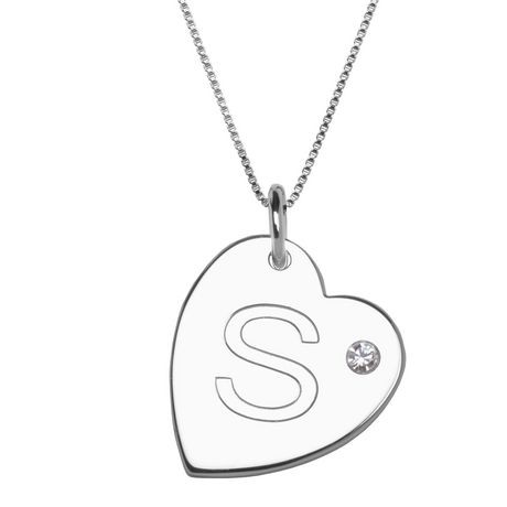 Paj sterling silver initial s heart pendant with rhinestone paj sterling silver initial s heart pendant with rhinestone accent walmart canada mozeypictures Image collections