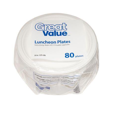Assiettes à déjeuner 9po Great Value, 80 assiettes - image 1 de 1