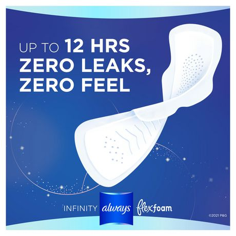 Always Infinity Size 4 Overnight Sanitary Pads with Wings, Unscented - image 4 of 7