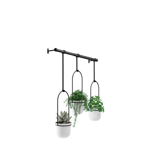Umbra Triflora Hanging Planter for Window, Indoor Herb Garden, White/Black - image 5 of 5