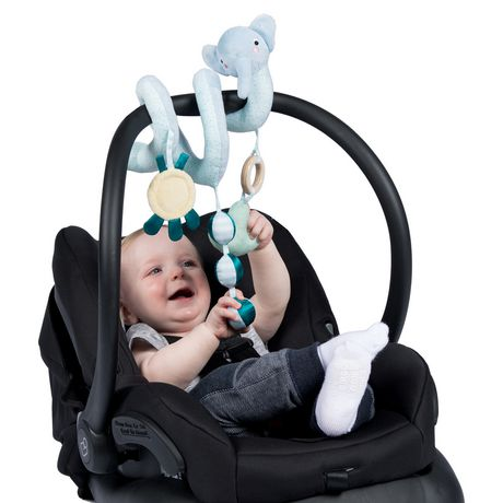 Manhattan Toy Safari Elephant Spiral Baby Toy for Strollers And Crib Toy with Baby Mirror, Rattle And Teether - image 4 of 4