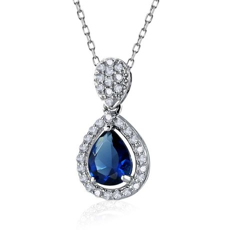 Sterling Silver Blue and Clear CZ Pendant - image 1 of 1