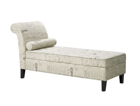Brassex Beige Finish Light Beige Fabric Chaise with Storage  sc 1 st  Walmart Canada : chaise with storage - Sectionals, Sofas & Couches
