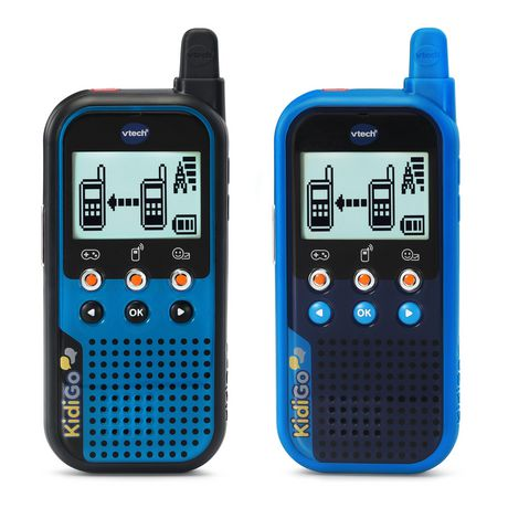 Pair of blue and black walkie talkies with digital displays from VTech
