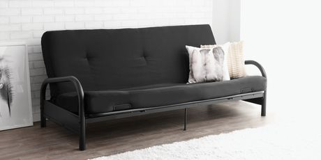 Mainstays Black Metal Frame Futon with 6inch Mattress Walmart