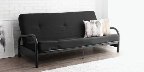 mainstays black metal frame futon with 6 inch mattress mainstays black metal frame futon with 6 inch mattress   walmart      rh   walmart ca