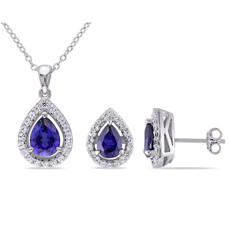 """Tangelo 4.88 Carat T.G.W. Created Blue and White Sapphire Sterling Silver Halo Teardrop Pendant and Earrings Set, 18"""" - image 1 of 4"""