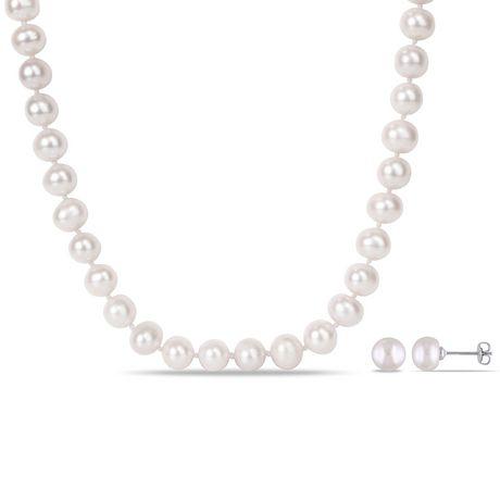 Ensemble de collier et boucles d'oreille Miabella en laiton avec perles d'eau douce cultivées, 18 po - image 1 de 5