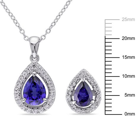 """Tangelo 4.88 Carat T.G.W. Created Blue and White Sapphire Sterling Silver Halo Teardrop Pendant and Earrings Set, 18"""" - image 2 of 4"""