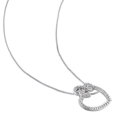 Pendentif Miabella en forme de cœur et infini avec 0.05 carat de diamants en argent sterling - image 2 de 4