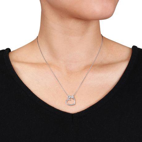 Pendentif Miabella en forme de cœur et infini avec 0.05 carat de diamants en argent sterling - image 4 de 4