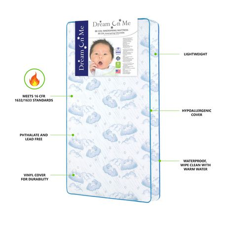 Best Waterproof or Stain-Resistant Mattress - Alternate Pick - Dream On Me Twilight baby crib mattress with cloud patterns on it