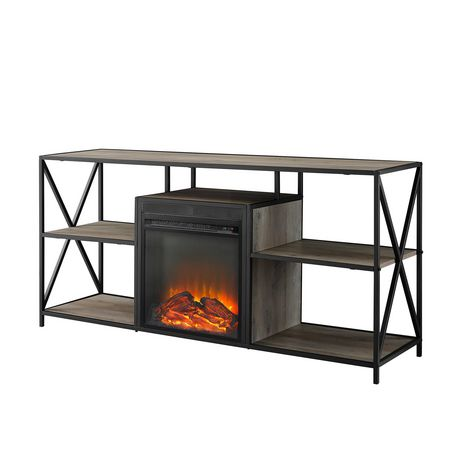 """Manor Park Modern Industrial Fireplace TV Stand for TV's up to 66""""- Grey Wash - image 6 of 9"""