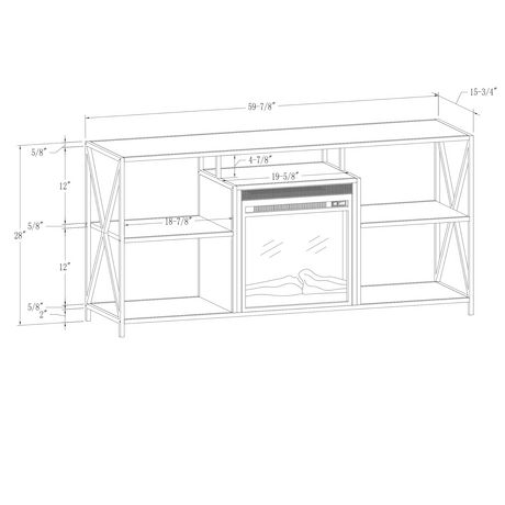 """Manor Park Modern Industrial Fireplace TV Stand for TV's up to 66""""- Grey Wash - image 8 of 9"""