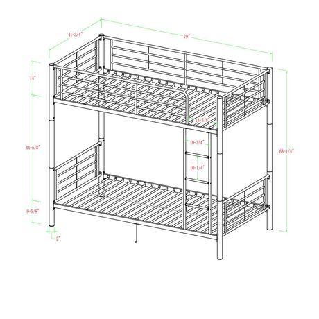 Lits simples superposés WE Furniture en noir - image 6 de 6
