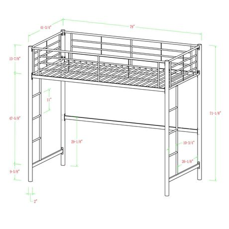 Manor Park Modern Metal Twin Loft Bed Multiple Finishes