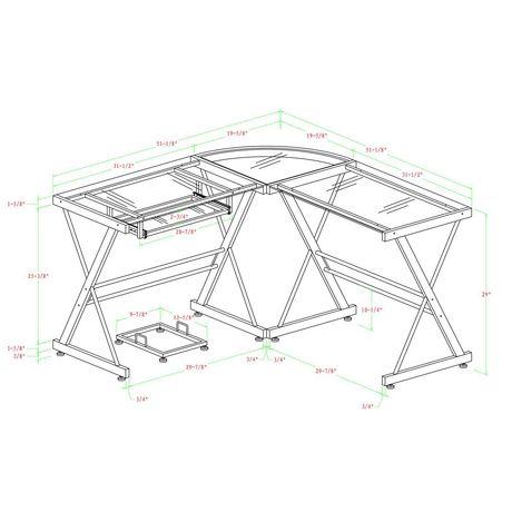 Bureau d'ordinateur en coin de verre et de métal - noir - image 5 de 5