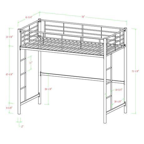 Walker Edison Twin Metal Loft Bed Silver Walmart Canada