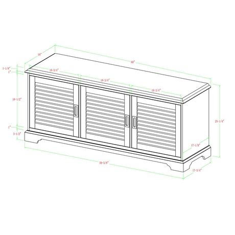 """Manor Park angelo:HOME 60"""" Louvered Door TV Console - White Wash - image 6 of 6"""