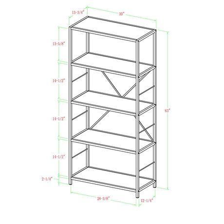 Manor Park Armoire de livres et médias rustique en bois et métal de 160cm (63po) - Noyer foncé - image 6 de 7
