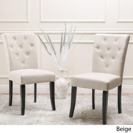 Ensemble de 2 chaises de salle à manger capitonnées beiges | Walmart ...