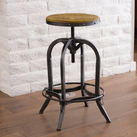 nouveau style 2147d b261d Tabouret de bar ajustable en bois teint chêne naturel Kylie