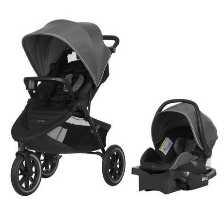 Evenflo Folio3 Travel System W/ LiteMax 35 Infant Car Seat - Black Avenue Fashion