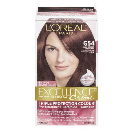 loral paris excellence creme triple protection coloration acajou cuivr fonc g54 - Coloration Chatain Acajou Cuivr