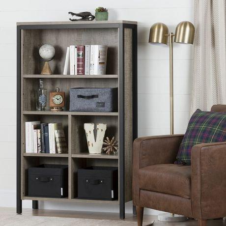 biblioth que 6 tablettes avec cases munich ch ne vieilli et noir mat de meubles south shore. Black Bedroom Furniture Sets. Home Design Ideas