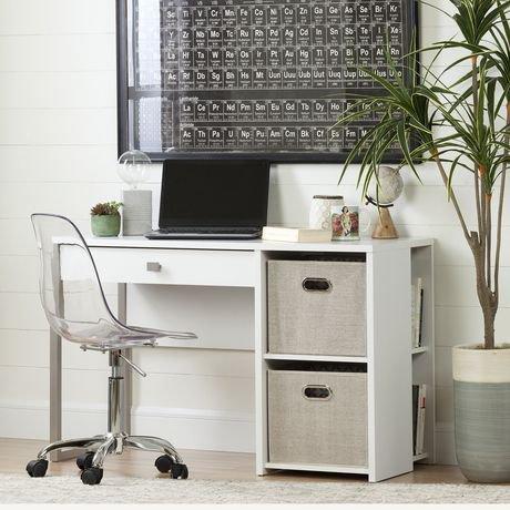South shore interface white desk with storage and baskets - Bureau de travail blanc ...