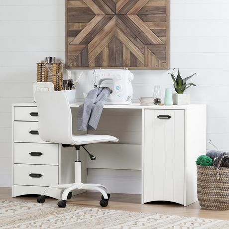 South Shore Artwork Sewing Craft Table With Storage, White | Walmart Canada