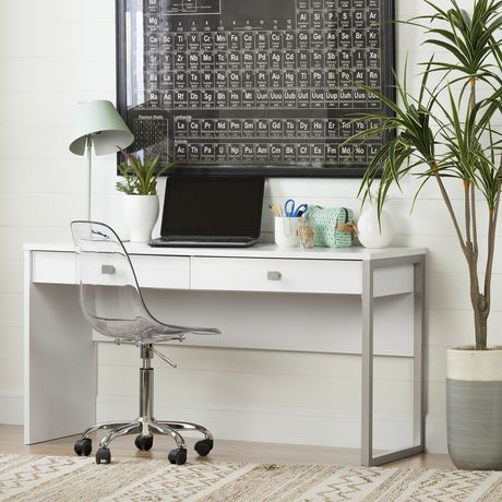 South Shore Interface Desk With 2 Drawers White Walmart Canada