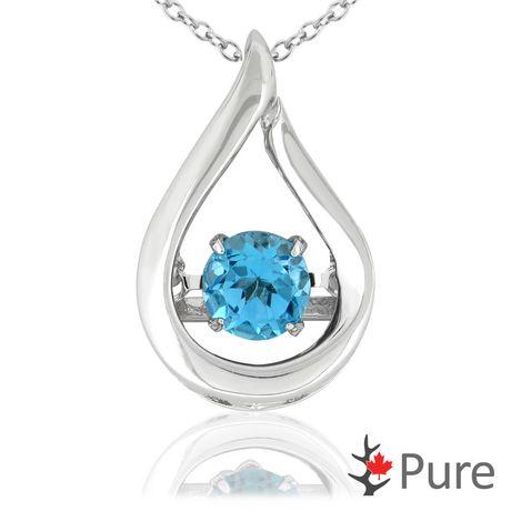 Collier dansant Pure à topaze bleue d'1 carat PBT en forme de larme montée dans de l'argent sterling 925 - 5,25 mm - image 1 de 3