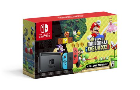 Nintendo Switch™ w/ Neon Blue & Neon Red Joy-Con + New Super Mario Bros.™ U Deluxe (Full Game Download) - (Nintendo Switch) - image 1 of 6